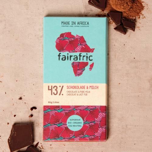 fairafric 43% Schokolade und Milch - Bio+Tree-To-Bar