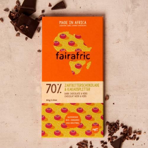 fairafric 70% Zartbitterschokolade und Kakaosplitter - Bio+Tree-To-Bar *VEGAN*