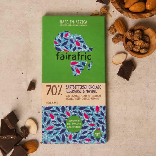 fairafric 70% Zartbitterschokolade mit Tigernuss und Mandel - Bio+Tree-To-Bar *VEGAN*