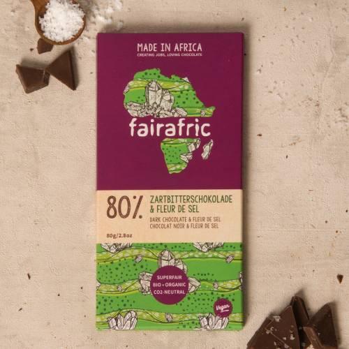 fairafric 80% Zartbitterschokolade und Fleur de Sel - Bio+Tree-To-Bar *VEGAN*